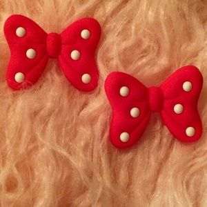 LARGE Red & White Bow Statement Earrings NWT